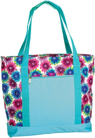 Picnic Plus Extra Large 2 In 1 Insulated Cooler Bag with Thermal Foil Section and Water Resistant Section, Perfect for Beach, Pool, Lake, Boating and Shopping, Lido (Blue Blossom) by Picnic Plus