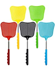 Extendable Fly Swatter, 5 PCS Durable Heavy Duty Plastic Manual Swat Pest Swatter with Extendable Stainless Steel Handle for Office, Home, School, Swat Pest, Fly (Red, Yellow, Blue, Green, Black)