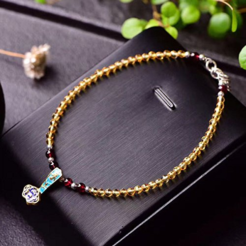 - TKHNE Natural yellow faceted crystal garnet Foot Chain anklet 925 silver tails sp beads! 925 silver necklace pendant wishful grilled blue!