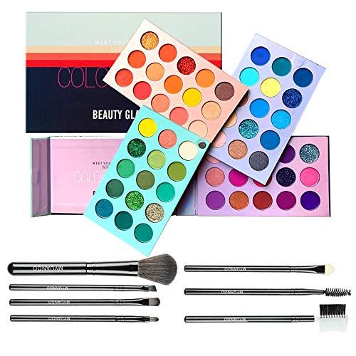 60 Color Eyeshadow Palette Color Board Makeup Palette + 7 PCS Eye Brushes Makeup Set Shimmer Matte Glitter Metallic Eye…