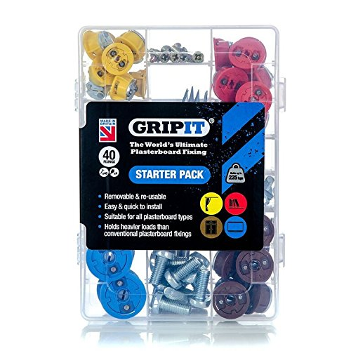 GripIt Drywall Anchor Fixing Kit Holds Up To 250 Pounds or 113 Kilograms Of Weight. Perfect For Hanging Heavy Such as TVs, Boilers, Cabinets on Plasterboard Walls.. Removable and Reusable Screws (40 Fixings, Drill Bit Included)