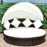Tangkula Patio Furniture Outdoor Lawn Backyard Poolside Garden Round with Retractable Canopy Wicker Rattan Round Daybed, Seating Separates Cushioned Seats (4 Pillow Beige)