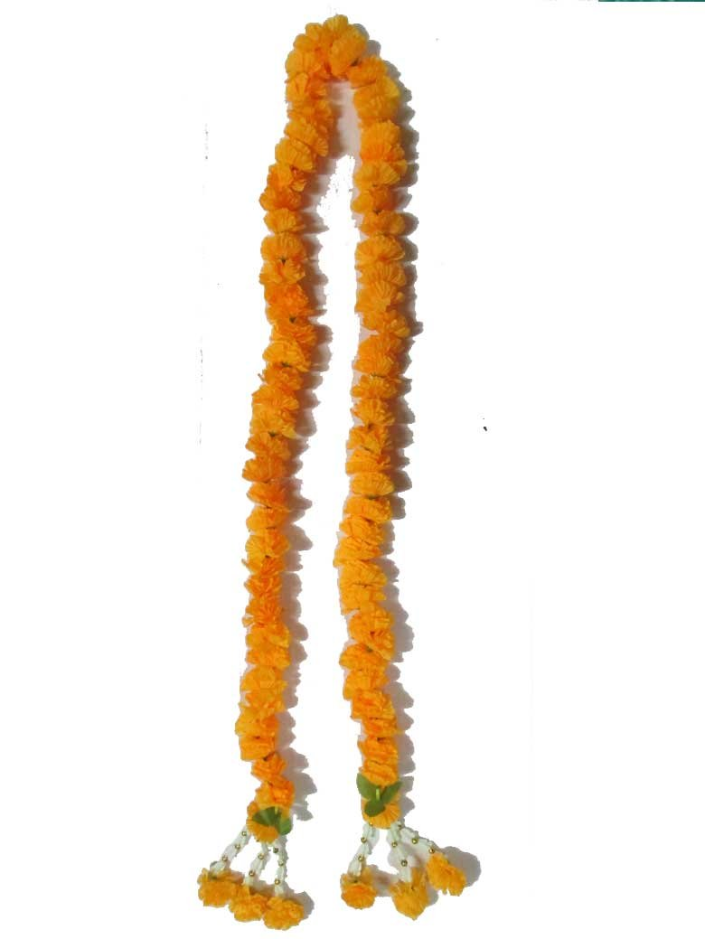 Thai Artificial Yellow Marigold Garland / Size : 75cm by thai garland