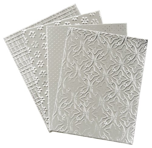 Darice DT-GX-7200-25 12-Pack David Tutera Celebrate Step 2 Card Layer, A2, Embossed Combo, Silver