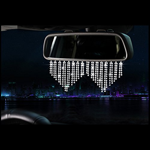 YGMONER Bling Rhinestone Car Rear View Mirror Ornament Car Charm Pendant Lucky Crystal Window Hanging