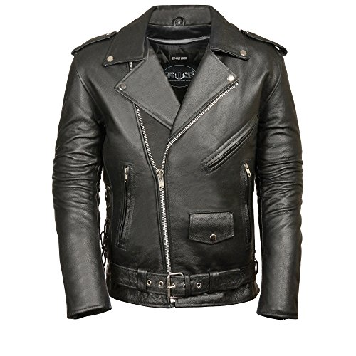 Biker Leather Apparel (M-BOSS MOTORCYCLE APPAREL-BOS11513T-BLACK-Men's tall classic biker leather jacket.-BLACK-3XL-TALL)
