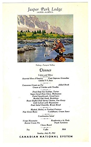 Jasper Park Lodge Menu Canadian National 1953 Alberta Canada Tonquin Valley