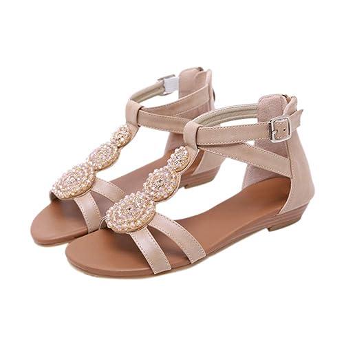 Xinvivion Sandalias de Cuña para Mujer, Zapatos de Gladiador ...