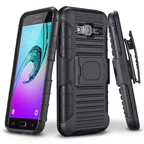 TILL Galaxy Sky Case, J3/J3 V Case, Galaxy Sol Case, Holster Locking Belt Swivel Clip Heavy Duty [Built-in Kickstand] Combo Case Defender Cover for Samsung Galaxy Amp Prime/Express Prime [Black]