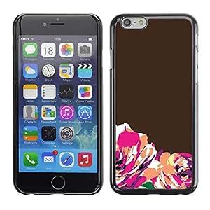 FECELL CITY // Duro Aluminio Pegatina PC Caso decorativo Funda Carcasa de Protección para Apple Iphone 6 // Brown Orange Minimalist