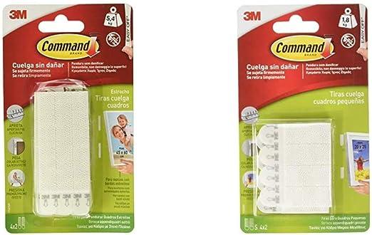 Command 17207 - Pack de 8 tiras para cuadros con marco (estrecho, hasta 5,4 kg), Blanco + 17202, Tiras para Colgar Cuadros, Blanco, Pequeñas, (hasta 1,8 kg): Amazon.es: Bricolaje y herramientas