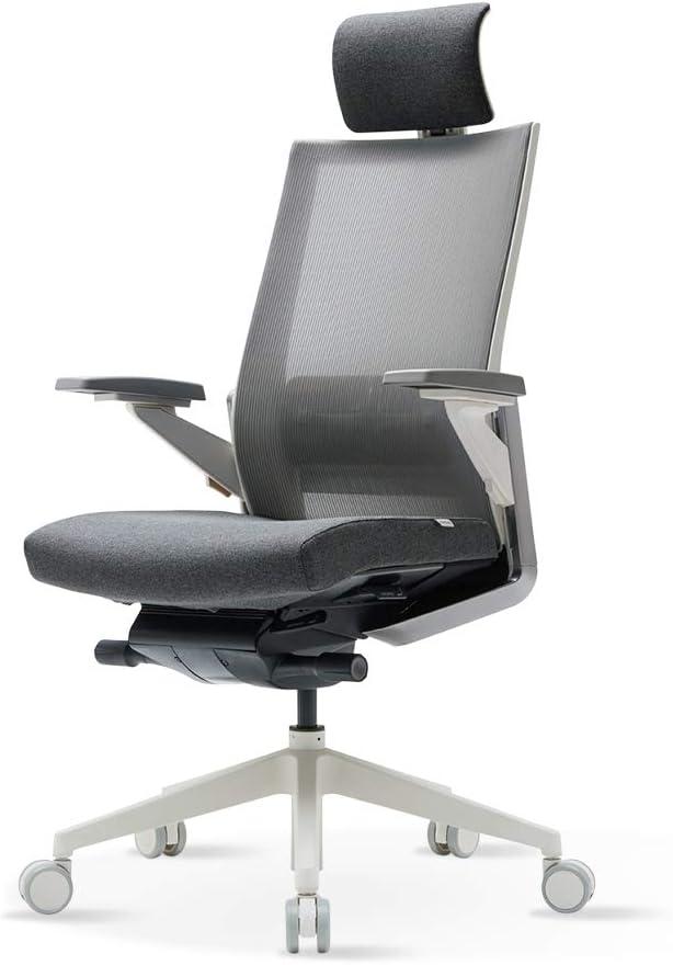 SIDIZ T80 High Performance Ergonomic Swivel Chair TN800HLDA – Light Gray High Back w Adjustable Headrest, Mesh Back w Lumbar Support, 3-Way Adj. Arms Seat Slide Slope Dark Grey