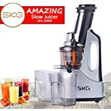 """SKG NEW Wide Chute Anti-Oxidation Slow Masticating Juicer (240W AC Motor, 60 RPMs, 3"""" Big Mouth) - Vertical Masticating Cold Press Juicer"""