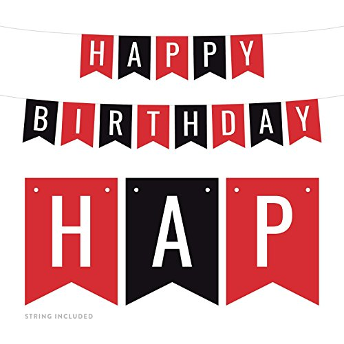 Andaz Press Hanging Pennant Banner Party Decorations, Red, Black, Happy Birthday, 1-Pack, Approx. 5-Feet, Ladybug Girls Themed Decor