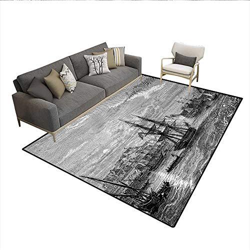 Carpet,Departing from Elba Vintage Engraved Illustration History of France Sails Vessels,Print Area Rug,Black GreySize:6'6