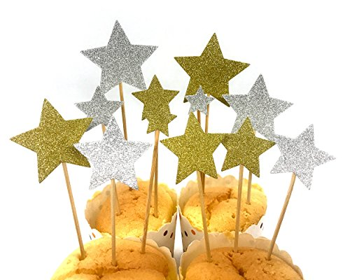 Ace Select Cake Toppers 60 Pcs Cupcake Toppers Star Decoration Cupcake Picks - Gold and Silver