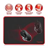 Insten Large Size XL Gaming Mouse Pad Computer Mouse Mat with Special-Textured Surface, Silky Smooth, Non-Slip Backing, Waterproof Surface & Stitched Edges - 13.8 X 10.2 inches, Black/Red