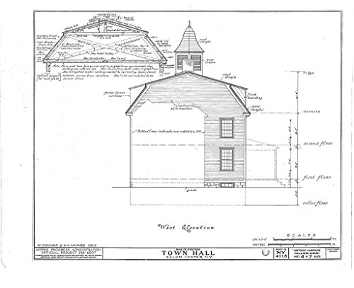Historic Pictoric Structural Drawing HABS NY,60-SAL,1- (Sheet 4 of 7) - Town Hall, Salem Center, Westchester County, NY 55in x 44in