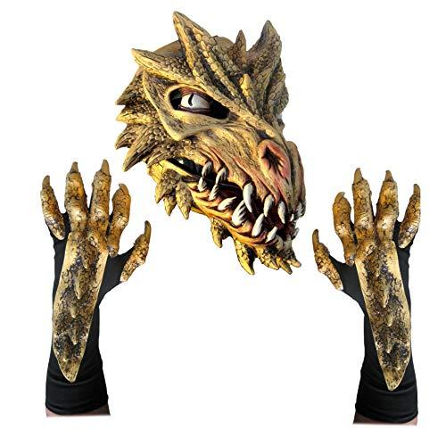 (Golden Dragon Adult Costume Set Mask & Gloves )