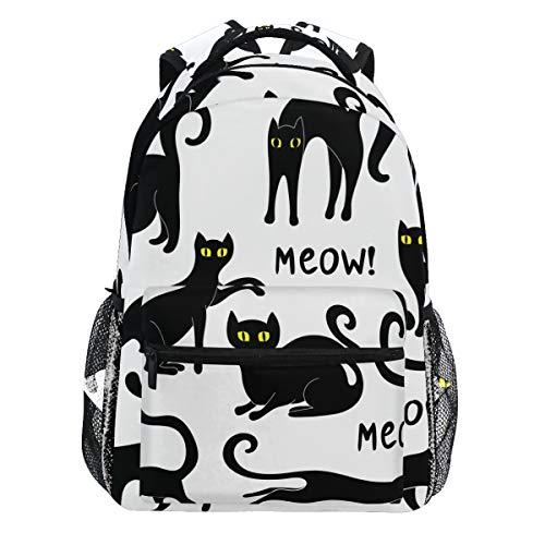 Kaariok Black Cat Halloween Animal Backpack Bookbags Daypack Travel School College Bag for Womens Mens Teens]()