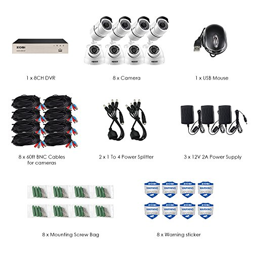 ZOSI Security Camera System 8 Channel FULL 1080P HD-TVI CCTV DVR Recorder With (8) HD 2.0MP 1080p Outdoor Indoor Bullet Cameras and Dome Surveillance Cameras with 100ft Night Vision, No Hard Drive