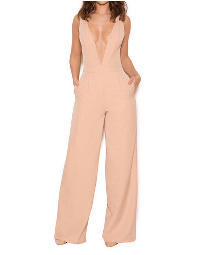 UONBOX Women's Sleeveless Elegant Deep V and Wide Leg Ladder Back Jumpsuit Apricot M