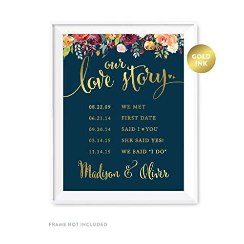 Andaz Press Personalized Wedding Party Signs, Navy Blue Burgundy Florals with Metallic Gold Ink, 8.5×11-inch, Welcome to Madison s Bridal Shower Sign, 1-Pack, Colored Fall Autumn Decorations, Custom