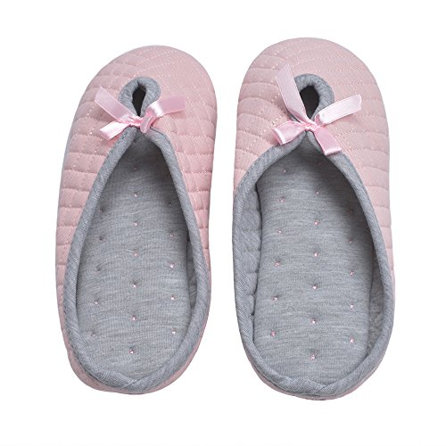 Cyiecw Foam Slip Slippers Pink Cotton Indoor Memory On Breathable Clog Gridding Women's Soft wHq8n4Zwr