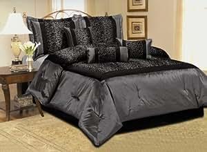 Amazon Com 7 Piece Faux Silk Leopard Printing Comforter