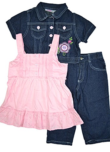 Alfa Global Little Girls' Dress, Short Denim Jacket, and Pants 3 pcs. Set Pink 6T