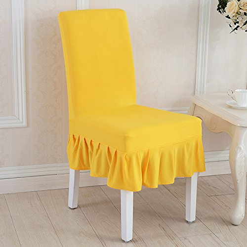 - T-CYYT 2 Pieces Elastic Siamese Dining Table Chair Cover Simple Modern Stool Set Hotel Restaurant Seat Cover Fabric, Ming Huang