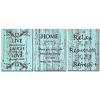 Visual Art Decor 3 Pieces Sweet Home Rustic Teal Wooden Background Canvas Prints Poster Framed and Stretched Green Picture Love Rules Quote Home Living Room Dining Room Decoration