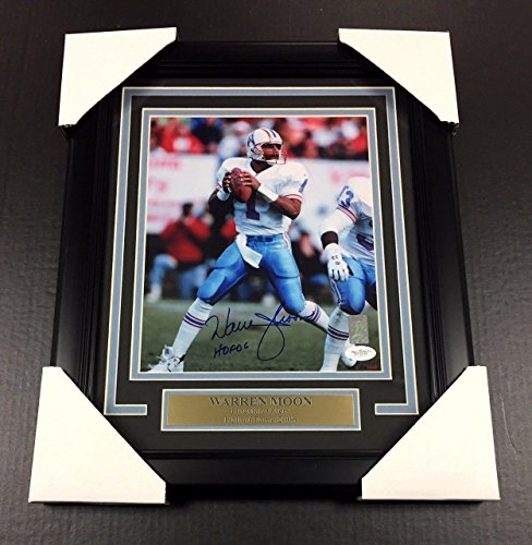 WARREN MOON HOUSTON OILERS AUTOGRAPHED SIGNED 8X10 PHOTO FRAMED JSA COA Signed Autographed Oilers