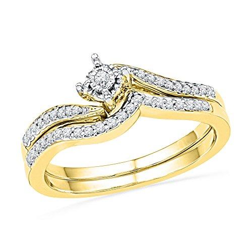 Diamond Engagement Ring & Wedding Band Set Solid 10k Yellow Gold Bridal Set Polished Style Fancy 1/5 - Set Flower Diamond Bridal