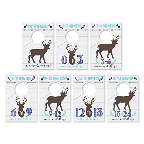 7 Woodland Baby Nursery Closet Organizer Dividers For Boy Clothing, Blue Deer Age Size Hanger Organization For Kid Toddler, Infant Newborn Clothes Must Have, Shower Registry Gift Supplies, 0-24 Months
