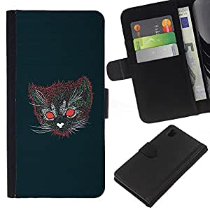 NEECELL GIFT forCITY // Billetera de cuero Caso Cubierta de protección Carcasa / Leather Wallet Case for Sony Xperia Z1 L39 // Gato psicodélico
