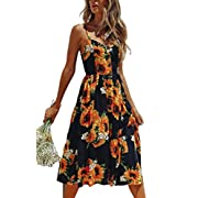 Angashion Women's Dresses-Summer Floral Bohemian Spaghetti Strap Button Down Swing Midi Dress with Pockets 650 Sunflower L