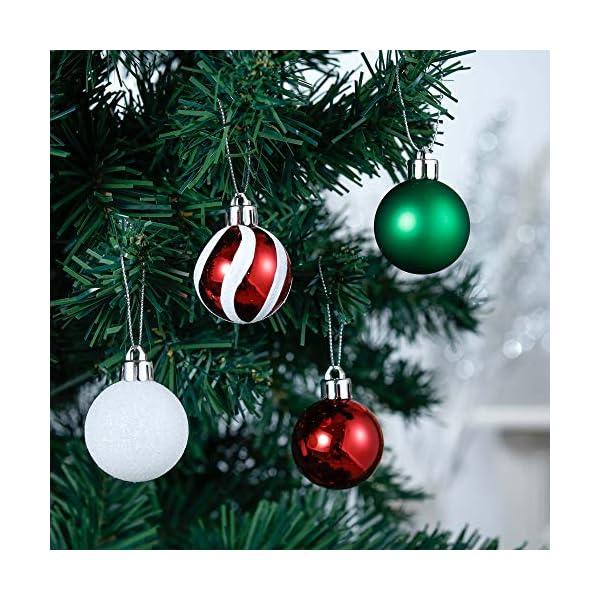 Valery Madelyn Palle di Natale 40 Pezzi 4 cm Palline di Natale, Collezione Classica Essenziale Rosso Verde e Bianco Ornamenti di Palla di Natale Infrangibili di Base per la Decorazione 4 spesavip