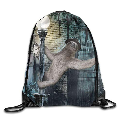 BJsihuanlujiud Singing In The Rain Sloth 3D Print Drawstring Backpack Rucksack Shoulder Bags Gym Bag