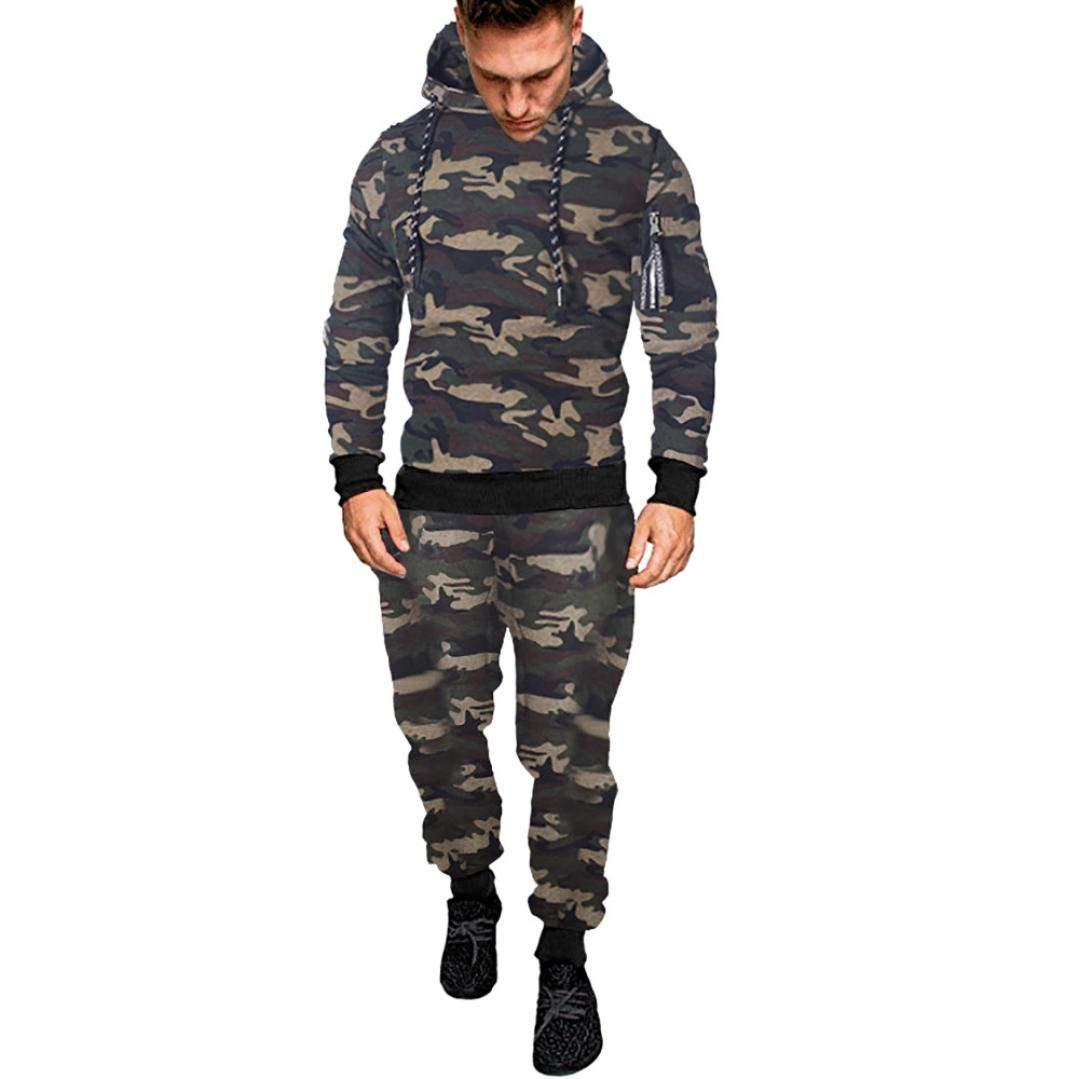 2018 New! Sweatshirt Suit,Caopixx Men ShirtsCamouflage Sweatshirts Top Pants Sets Sports Suit