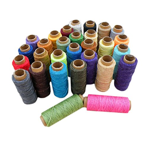 Yalulu 29pcs Whole Sets 1mm 50m/roll 150D Waxed Thread Cotton Cord String Strap Hand Stitching Thread for Leather Handicraft Tool DIY Material Accessories