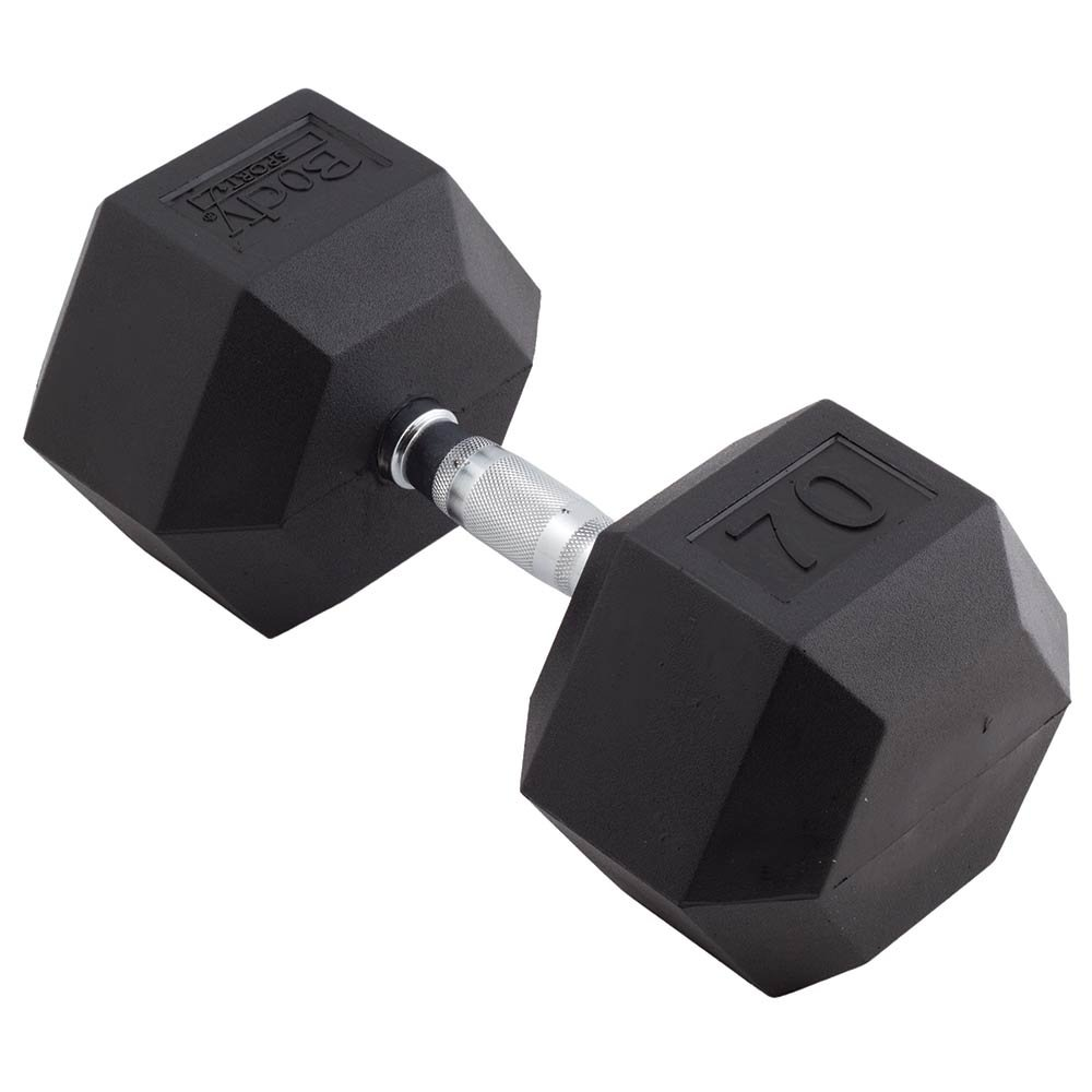 Body Sport 70lb Rubber Encased Hex Dumbbell - Sold Individually