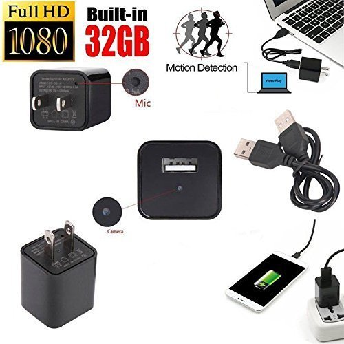 DENT Hidden Camera Charger 1080p 32GB Internal Memory Included Spy Nanny Camera featuring Motion Detection, Records up to 8 Hours of Movement Only - To Lenses Add Frames