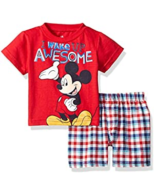 Disney Baby Baby Boys' Mickey Mouse Plaid Short- Set