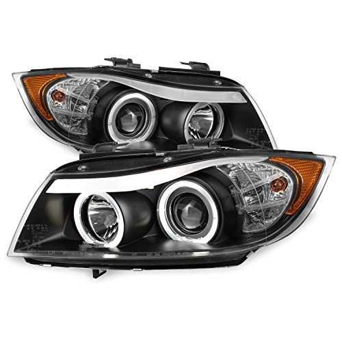 For 06-08 BMW E90 3-Series 4 Doors Sedan Black Bezel Halogen Type [LED Halo] Ring Eye Lid Projector Headlights