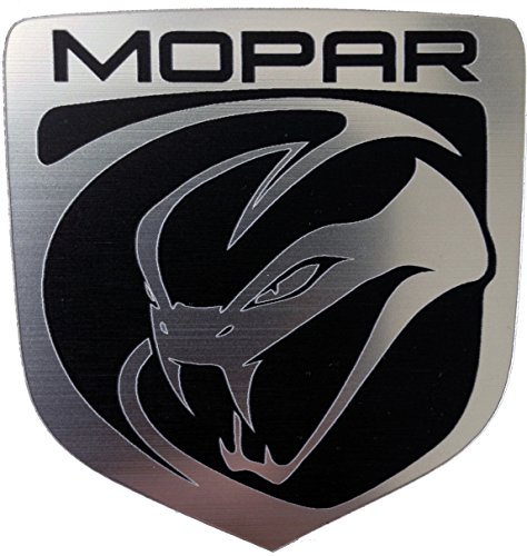 (24Designs Compatible Front Emblem Stryker Viper Mopar Silver Replacement for Dodge Neon Srt4 or Charger)
