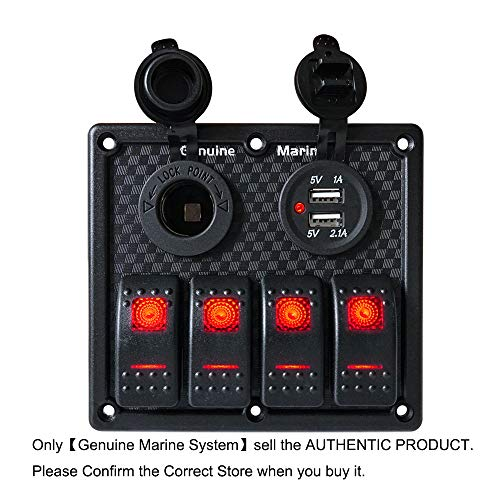 (4 Gang Boat Switch Panel - Dual 5V USB Charger Socket, DC 12V Charge Port, 12V-24V Circuit Breaker General Red LED Lighting Switching, IP65 Waterproof Marine Truck RV Toggle Switches with 15V Fuse)