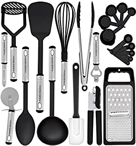 Kitchen Utensil Set - 23 Nylon Cooking Utensils - Kitchen Utensils with Spatula - Kitchen Gadgets Cookware Set - Best Kitchen Tool Set Gift by HomeHero