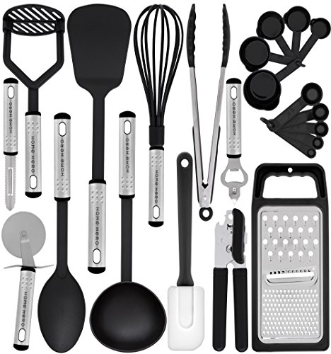 HomeHero Kitchen Utensil Set - 23 Nylon Cooking Utensils - Kitchen Utensils with Spatula - Kitchen Gadgets...