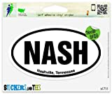 "NASH Nashville Tennessee Oval Vinyl Car Bumper Window Sticker 5"" x 3"""